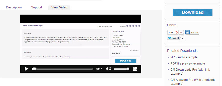 screenshot of the wordpress media player being used to preview audio or video files before downloading