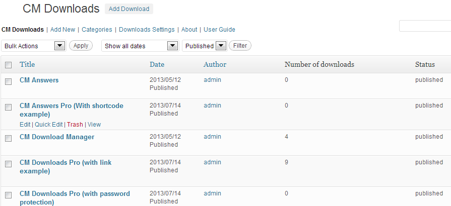 WordPress downloads index Directory shows like any other post or webpage