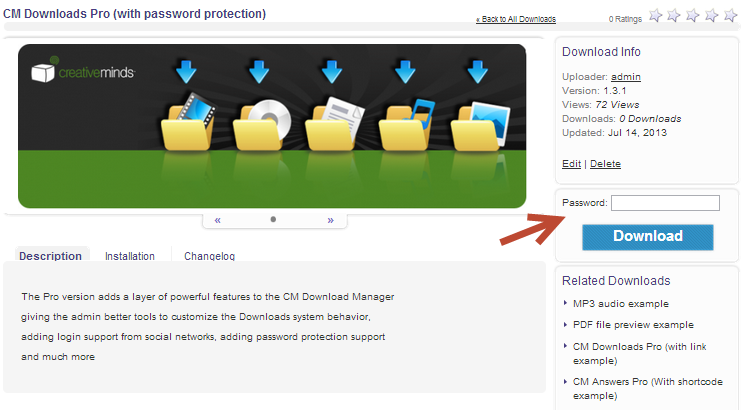 password protect files with the CM Download Manager WordPress Plugin