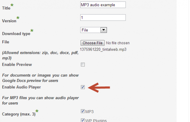 Edit for for music files, CM Downloads Manager WordPress Plugin