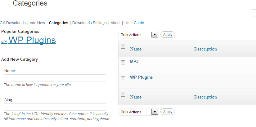 Categories of downloads, CM Download Manager WordPress Plugin