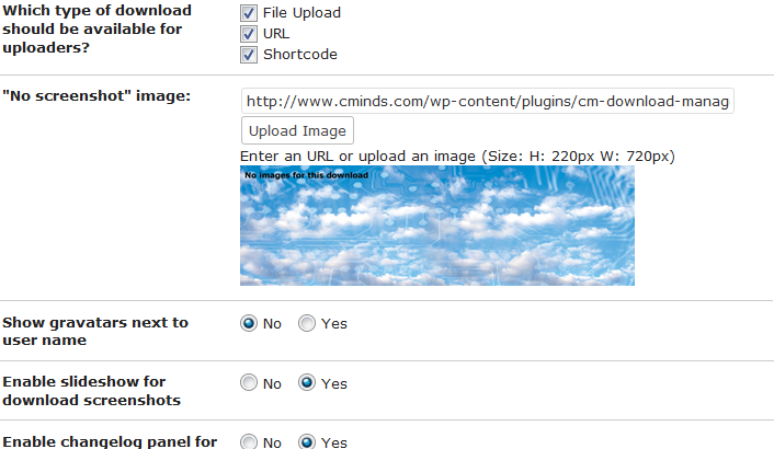 more settings in the CM Download Manager WordPress Plugin